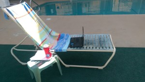 blogging by the pool